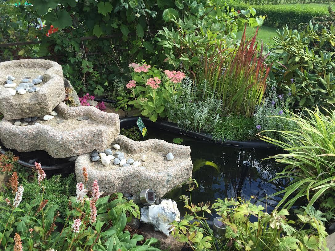 rinnande vatten i trädgården